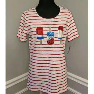 Karen Scott Striped Popsicle Rhinestone Tshirt